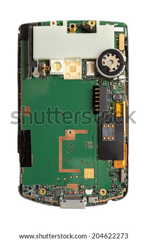 smart phone circuit board with details like sim card and other, image isolated on white - stock photo