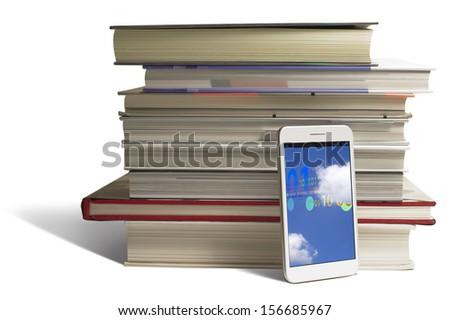 Smart Phone + cloud - stock photo