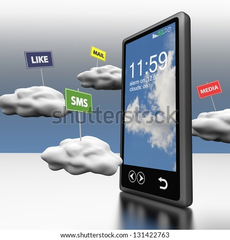 Smart phone Cloud computing with clouds and road signs - stock photo