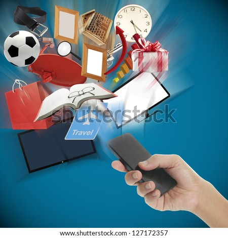 Smart phone in hand with the product - stock photo