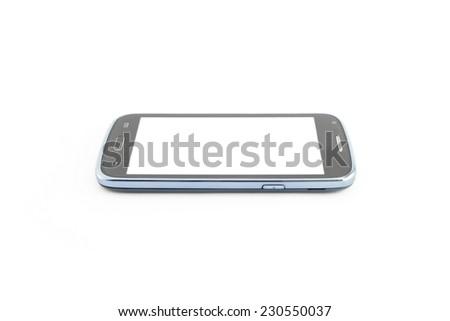 Smart phone isolated picture white background,horizontally - stock photo