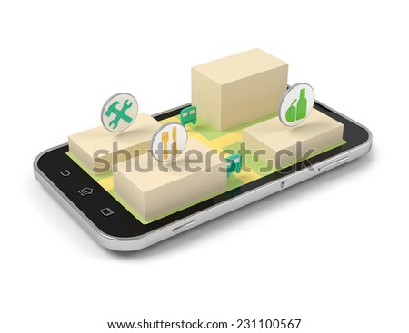 Smart phone mobile map and navigation 3d illustration. - stock photo