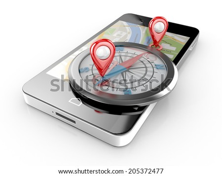 smart phone navigation and compass - mobile gps 3d illustration - stock photo