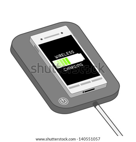Smart phone on Wireless Charger - stock photo