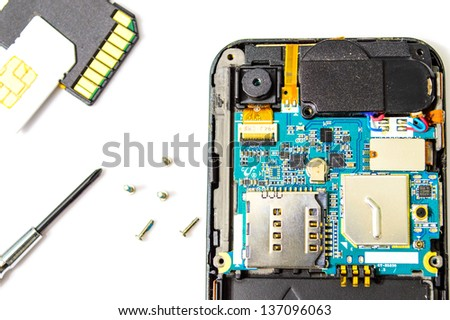 Smart phone repair isolated on white background. - stock photo