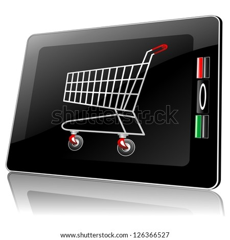 Smart Phone Tablet with Shopping Cart - stock photo