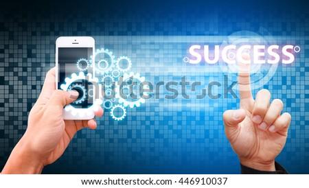 Smart phone to success process - stock photo