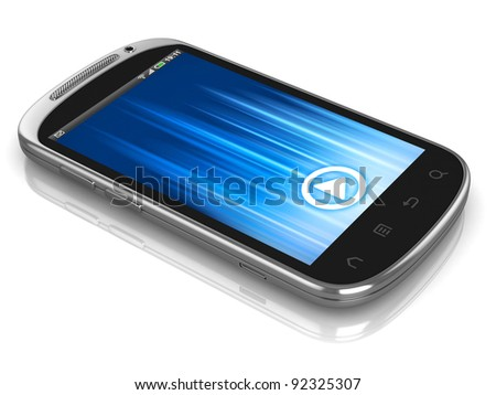 smart phone, touch screen phone isolated on the white background - stock photo