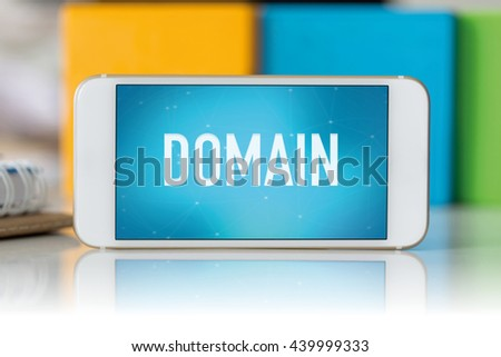 Smart phone which displaying Domain - stock photo