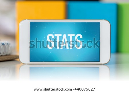 Smart phone which displaying Stats - stock photo