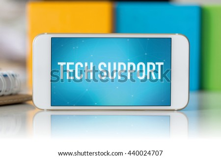 Smart phone which displaying Tech Support - stock photo