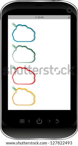 smart phone with a abstract cloud on the screen, raster - stock photo