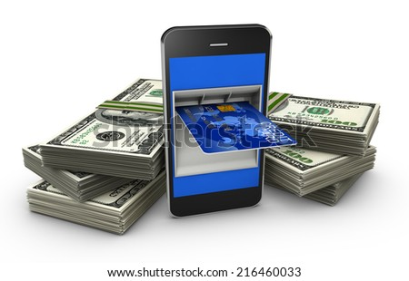 smart phone with a credit card and a stack of banknotes - stock photo