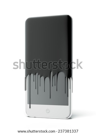 Smart phone with black oil - stock photo