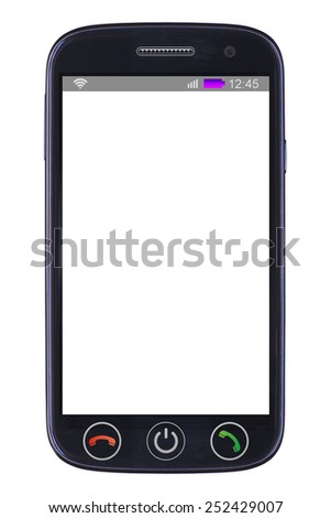 Smart phone with blank screen  isolated on white background - stock photo
