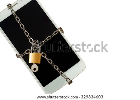 smart phone with chain lock ,black isolated on white. abstract background for solution to security smart phone form not owner. - stock photo