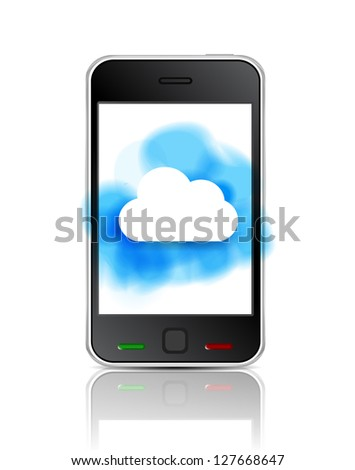 Smart phone with cloud - stock photo