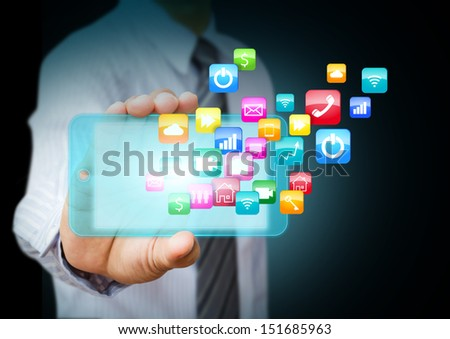 Smart phone with cloud of colorful application icons - stock photo