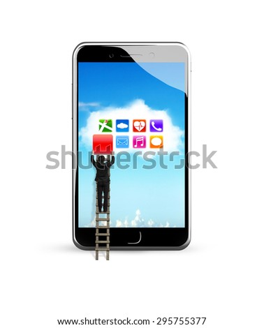 Smart phone with colorful apps on white cloud application, climbing businessman getting blank red icon from touchscreen, white background. - stock photo