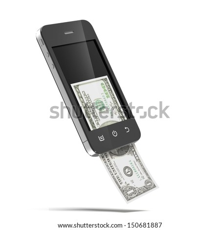 Smart phone with dollars - stock photo