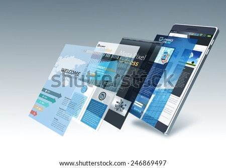 Smart phone with internet and multiple website pages changing on screen - stock photo