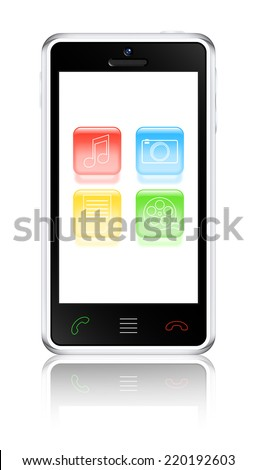 Smart phone with multimedia icons. 2d illustration - stock photo