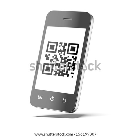 Smart phone with qr code - stock photo