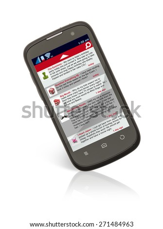 Smart Phone with Social Network Dialog Feed Isolated on White Background. - stock photo