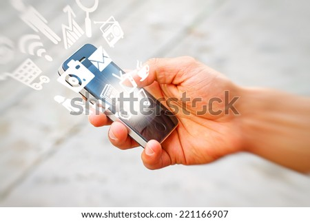 Smart phone with various signs - stock photo