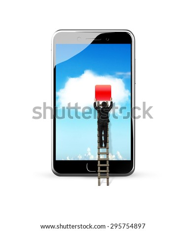 Smart phone with white cloud application, climbing businessman getting blank red icon from touchscreen, white background. - stock photo