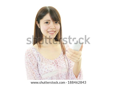 Smart phone with woman. - stock photo