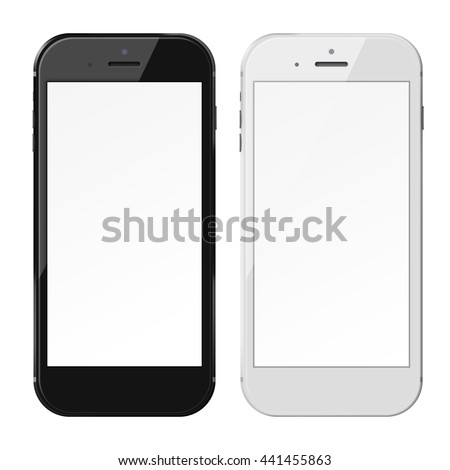 Smart phones in iphon style with blank screens isolated on white background. 3D illustration. - stock photo