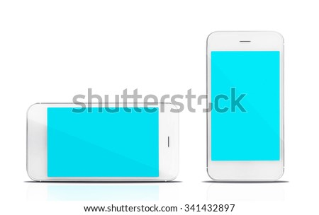 Smart phones,  isolated on white - stock photo