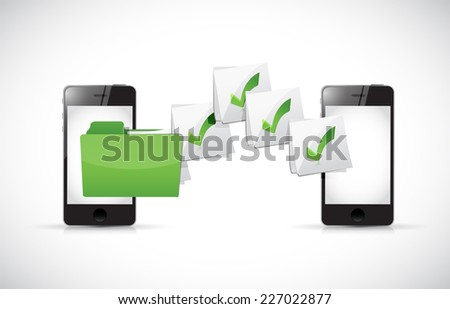 smart phones transferring files illustration design over a white background - stock photo