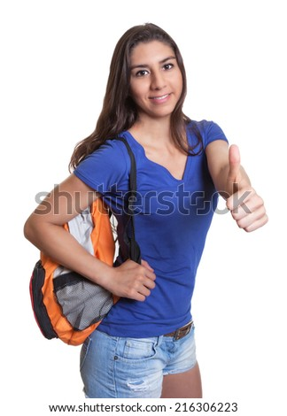 Smart south american student showing thumb up - stock photo