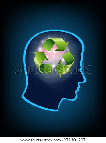 smart thinking to recycle - stock photo