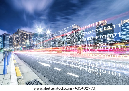 smart traffic on road in downtown of tokyo - stock photo