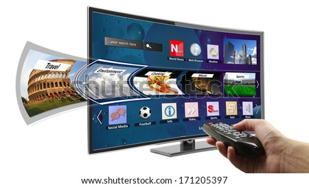 Smart tv with apps and hand holding remote control - stock photo