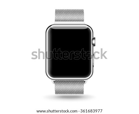 Smart watch blank screen mock up isolated. Steel hand clock mockup metal band. Smartwatch design presentation empty display template. Sport wrist watch clear touchscreen device icon. Time bracelet. - stock photo