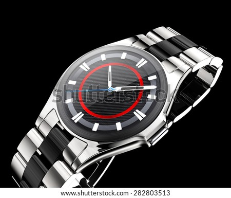 Smart watch with metal band isolated on black background. - stock photo