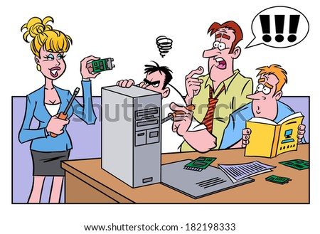 Smart woman helping men fix the computer - stock photo