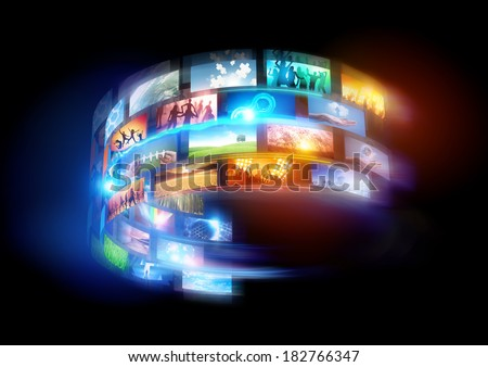 Smart world. Connected media and social events broadcast throughout the world. - stock photo
