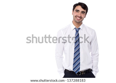 Smart young corporate professional thinking how to boost his business. - stock photo