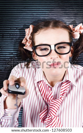 Smart Young Programming Woman Squinting While Problem Solving Complex Coding Glitches And Bugs In Beta Software - stock photo