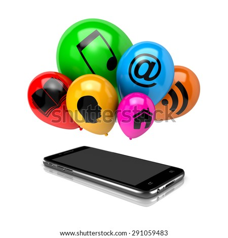 Smartphone and a Bunch of Balloons with Icon Symbols on White Background 3D Illustration - stock photo
