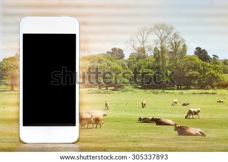 smartphone and agriculture, double exposure - stock photo
