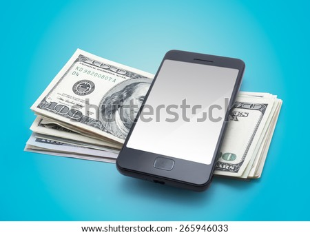 smartphone and dollars - stock photo