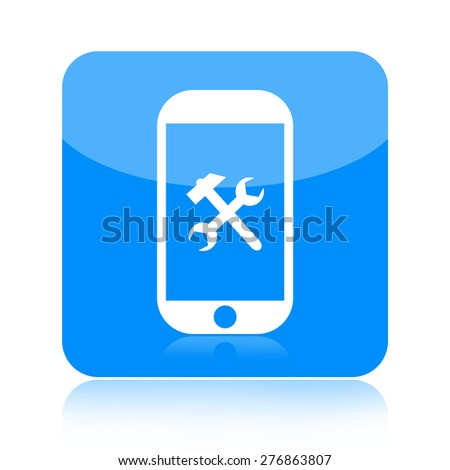 Smartphone and repair tools icon isolated on white background - stock photo