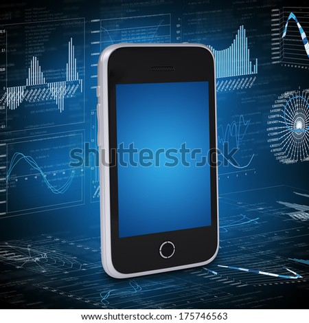 Smartphone and the graphics in the background. Computer technology concept - stock photo