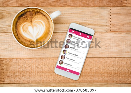 Smartphone app menu against view of a heart composed of coffee - stock photo